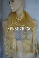 2015 top fashion new style nylon solid color shinning with thick silver yarn long scarf
