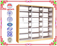 metal double-upright double-sided book shelf w/wood side panel