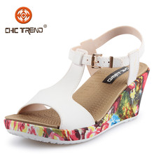 2015 new products wedge high heels lady sandals pvc upper pointed toe jelly sandals with EVA outsole and sext flower wedges