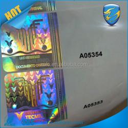 Anti-counterfeit University certificate hologram stickers