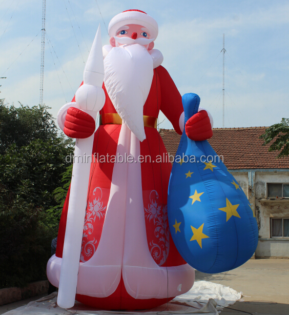 Ft christmas inflatable old world santa claus with gift
