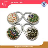 Gifts Presents for New Year Animal Theme Crystal Peacock Folding Table Purse Holder Handbag Purse Hanger Bag Hook Holder