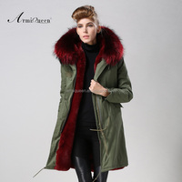 2015 Chinese supplier Winered long style big real collar women& mens fur coat, elegant chaeap very warm winter women fur coat