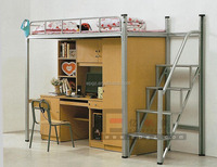 Modern Bunk Bed with Study Table and Storage Wardrobe