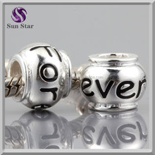 925 sterling silver custom made logo jewelry charms forever words engraved bead charms