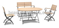 Outdoor Garden non wood foldable bench arm chairs and round table