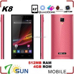 4.5inch Android 4.4 MTK6582 Quad Core Cell Phone 512+4GB 5.0MP GPS smart mobile phone