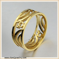 Hollowed-out gold plated stainless steel rings women rings size adjustable