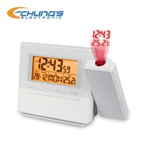 Digital table projection clock with amber LED backlight and illuminated buttons