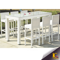 Leisure 6 seat garden outdoor rattan furniture restaurant dining table and chairs with cusion