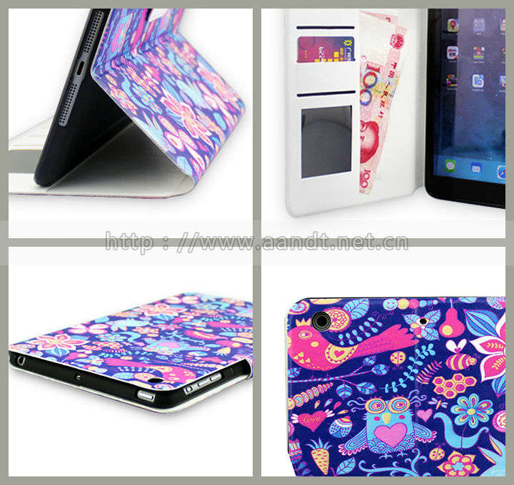 Fancy patterned leather PU case for iPad mini 2