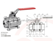stainless steel thread ball valve cf8m 1000 wog or 1000 wog 316 ball valve
