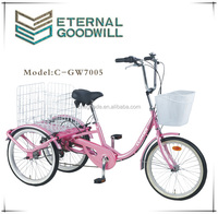 2015adult hot sales 3whree wheels pink/black/red Model GW7005-1S tricycle /cargobike/cargo tricycle bike for adults