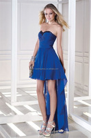 Sexy Strapless Chiffon Pleat Beading Short front later long japan gowns and evening dresses FXL-754