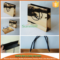 shiny gold paper carrier bag, paper tote bag