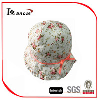 2015 foral custom printed baby cheap bucket hat with adjust velcro