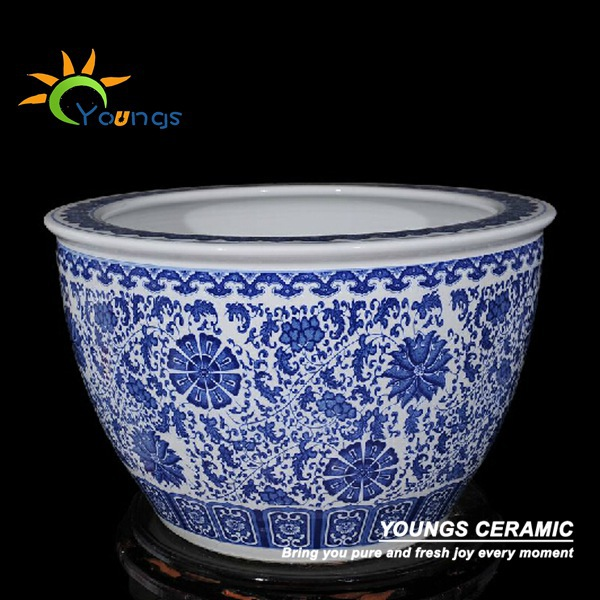 Delicate Large Chinese Blue And White Ceramic Plant Pots