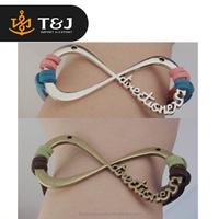 <<Fashion Zinc Alloy Direction women Bracelets Beautiful infinity symbol leather bracelet with letter for Gift/