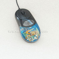 Resin Clear black real red Rose embedded decorative Wired Computer Mouse