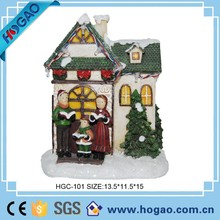 Resin Christmas mini house with holy family figurines