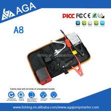 AGA A8-12000mAh mini car jump starter/new design emergency tools car jump start kit/Multi function power bank car jump start