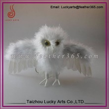 Taizhou Lucky Arts White Fly Feather Owl Christmas Ornament For Decorations