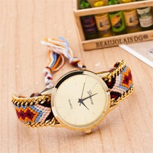 2015 Hot custom made dials chain woven thread weave fashion lady watch wolesale