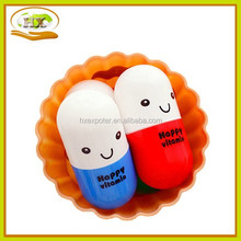 cute vitamin capsule pill small square towel compressed folding trip towel outdoor