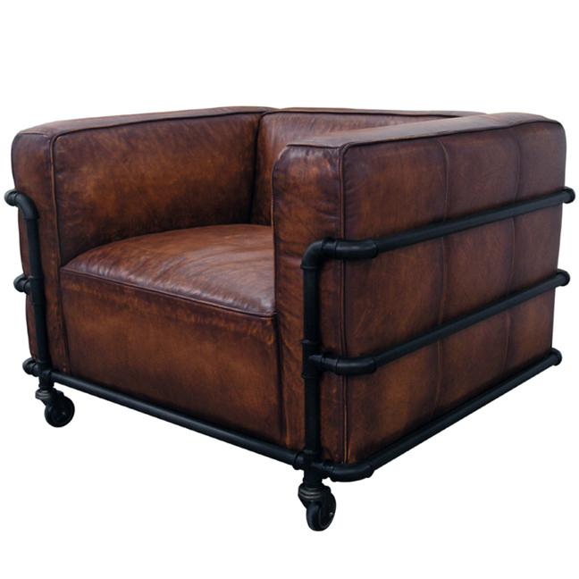 Industrielle vintage en cuir le corbusier canap avec roues - Canape cuir le corbusier ...