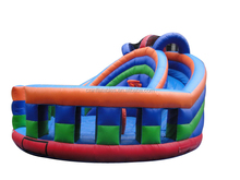 Hot Sale Inflatable Round Combo Dry Slide with Basketball Hoop, Viewing Rail, Rings, Pop Ups