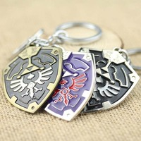 HOT movie jewelry metal shield enamel men souvenirs The legend of zelda keychain k-42