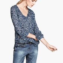 W70627G 2015 new design women printed long sleeve shirts chiffon blouse online shopping lady blouse