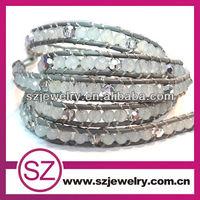 NTB0245 hot selling jewelry new product grey agate five wraps Bracelet,beads to make bracelets shamballa bracelet