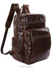 "Genuine Leather Business Backpack Travel School Bag Fit 15"" Laptop"