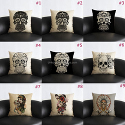 18 inch Square Throw Pillow Case Skull Style Cushion Cover Fashion Retro style home decor sofa pillow cases wholesale