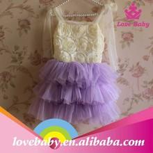 Venta al por mayor Lovebaby pernickety en capas purple roseta petti vestido para niñas vírgenes