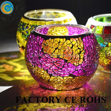 Wholesale Handmade Round Cheap Colored Glass Mosaic Candle Holders Europe Style For Weddings Party New Year