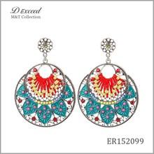D Exceed Wholesale Jewelry Fashion Designs Ladies/Women's Ethnic Bohemian Resin Cotton Woven Piercing Earrings Dangle Earrings