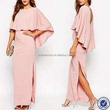 sexy thigh high split cape sleeve indian maxi long evening dress wholesale