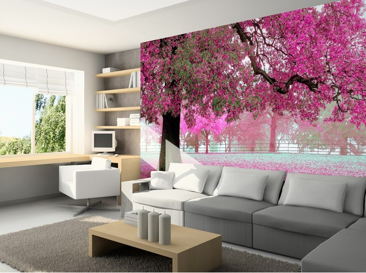 3d wallpaper mural pink purple tree wall paper background for Custom size wall mural
