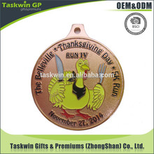 alibaba china hot novelty items custom metal running sports award medal with ribbon for Thanksgiving Day