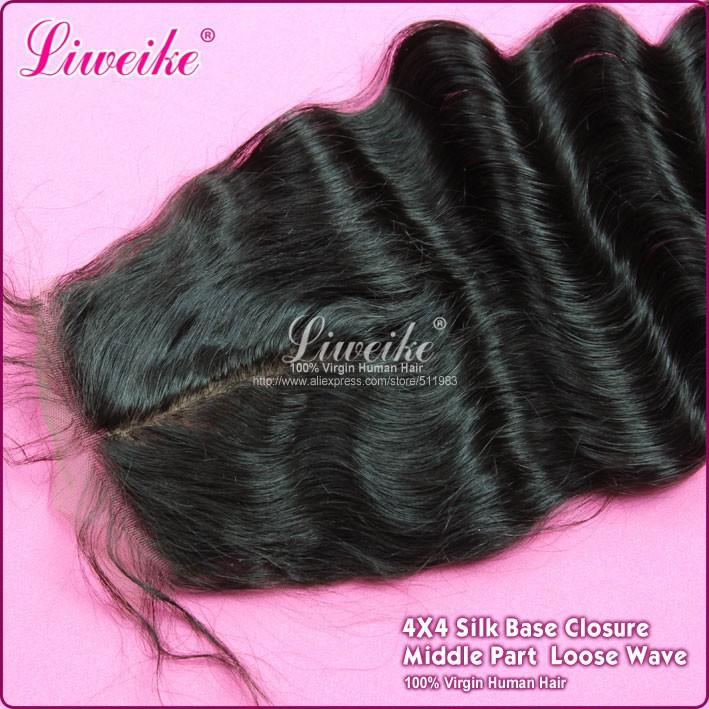 Silk Base Closure 1Pcs/lot Loose Wave Closure Brazilian Virgin Hair Natural Color Human Hair Weaves Liweike Hair Products