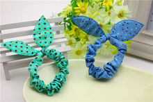 Free sample new design fabric animal ear style elastic hair bands for baby and girl