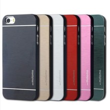 Fashion Metal Brush Case For iphone 5 5S 5G Aluminum PC Hard Back Cover Motomo Logo