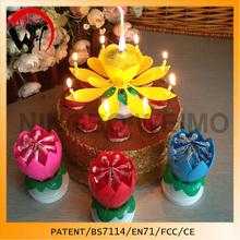 2014 venda quente rotating flor musical vela do aniversário graduação decoração do bolo