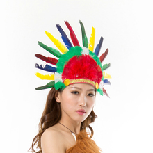 DJ-022yiwu caddy SEQUINED CARNIVAL INDIAN FEATHER HEADDRESS