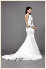 De lujo y deslumbrantes de cristal azul y oro con cuentas elegancia sirena vestidos de novia 2015 de manga larga vestido de boda