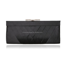 New hot black satin evening bag woven plain satin clutch bag