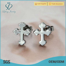 Fashion silver stainless steel a cross earring wholesale accessories