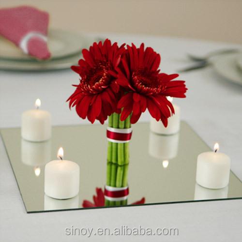 Beveled Glass Centerpiece Mirrors : Beveled edge mirror tiles for wedding centerpiece